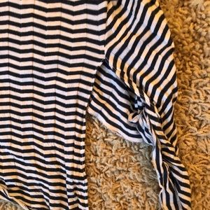 Tops - Navy and white stripe long sleeve t with knot